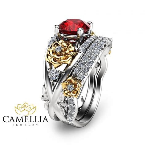 Wedding Ring Ruby by Flower Design Ruby Engagement Ring Set 14k Two Tone Gold