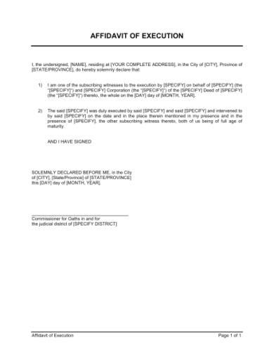 10 Affidavit Form Exles Pdf Business Affidavit Template