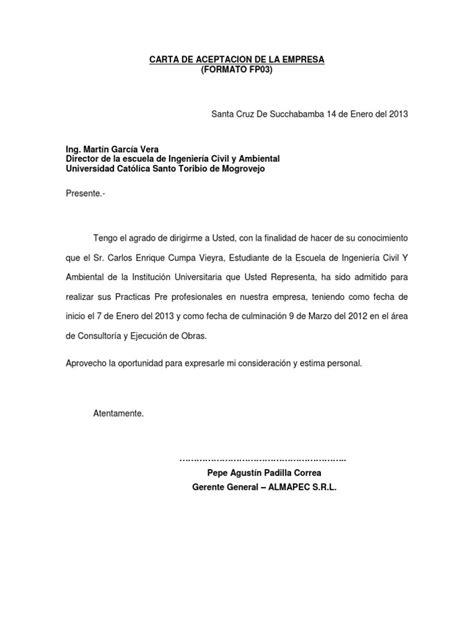 carta de aceptacin de comisario facebookcom carta de aceptacion de la empresa copia