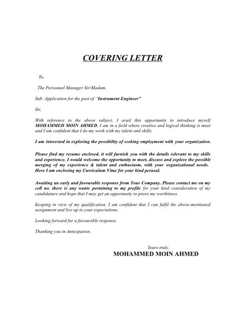 Instrumentation Technician Cover Letter by Instrumentation Engineer