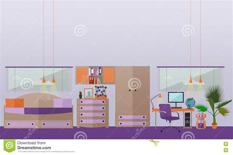 bedroom interior objects in flat style vector