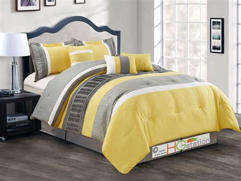 yellow ruffle comforter 7 p spores scroll floral embroidery ruffled comforter set king yellow gray white ebay