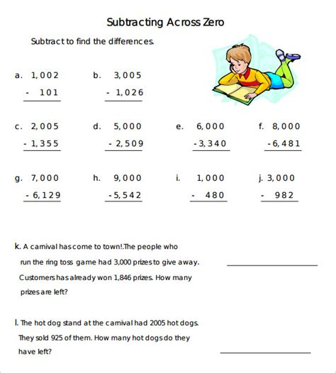 Subtracting Across Zeros Worksheet by Subtracting Across Zeros Worksheet Worksheets