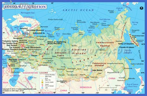 russia updated map maps update 19691351 tourist attractions map in russia