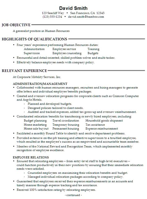 human resource resume exles resume for a generalist in human resources susan ireland