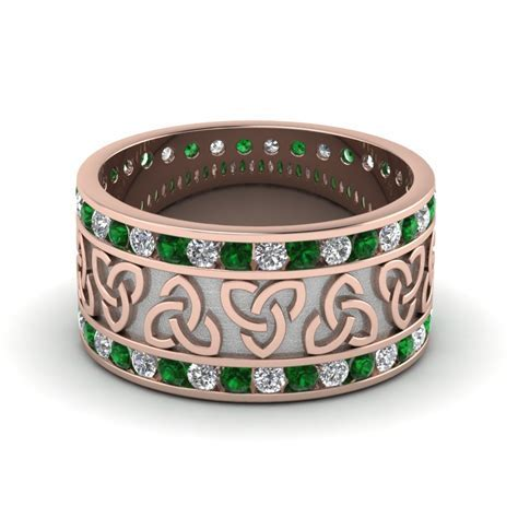 Emerald Celtic Knot Diamond Wedding Band In 14K Rose Gold