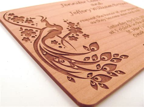 Red And Brown Wedding Decorations Engraved Wooden Wedding Invitation Real Wood Invitation