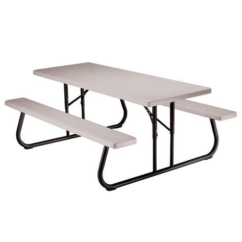 Lifetime 6ft Folding Table Lifetime 6 Ft Folding Picnic Table With Benches 22119 The Home Depot