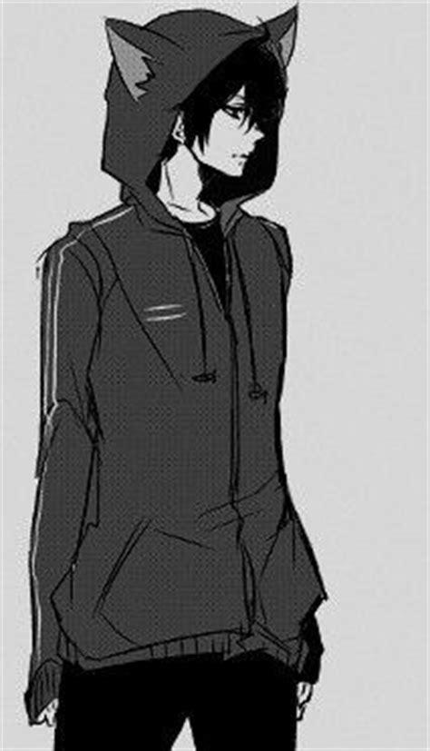 Anime boy, , manga boy, , cat ears, , black and white