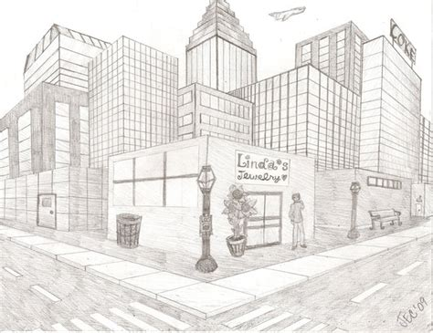2 Point Perspective Drawing Cityscape by Easy 2 Point Perspective City Drawing Www Imgkid