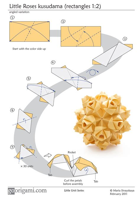 Origami Flower Diagram - roses kusudama diagram