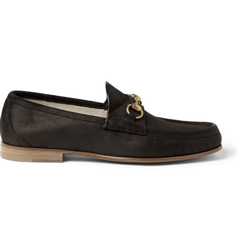 black gucci loafers gucci horsebit burnished suede loafers in black for lyst