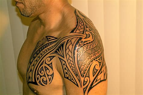 chest to shoulder tattoo polynesian shark on chest to hip 187 ideas