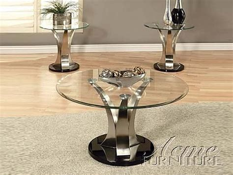 3 piece glass coffee table set acme furniture glass top coffee end table 3 piece 18410