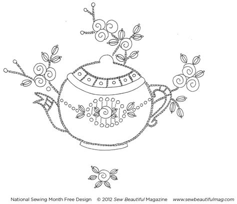 embroidery design templates sew beautiful blog free daily design vintage teapot