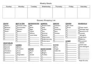 printable weekly meal planner grocery list stuff to