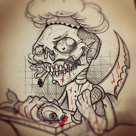 sketch for new book project tattoo sketch chef skull