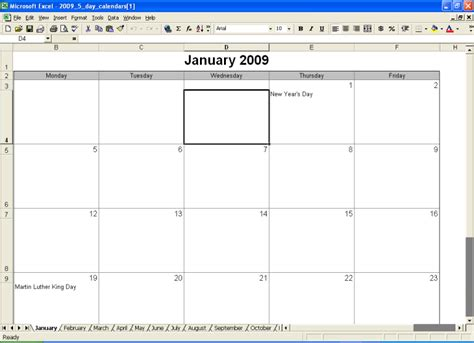 search results for blank month calendar 5 day week