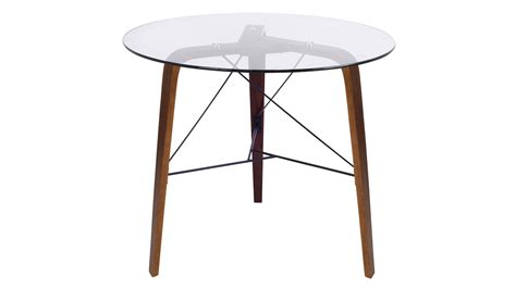 Glass Bistro Table Modern Terrah Bistro Table Walnut Frame Clear Glass Zuri Furniture