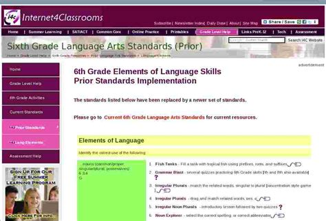 Language Arts Standards 6th Grade Language Elements