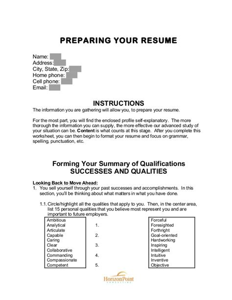 Resume Address Out Of State Preparing Your Resume Worksheet