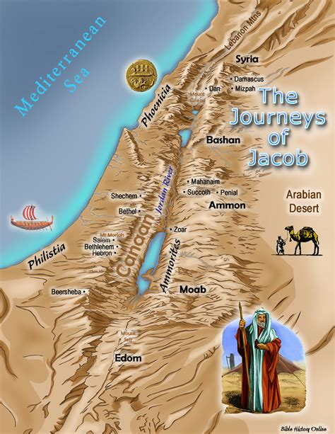 jacob s journey books map of the journeys of jacob bible history