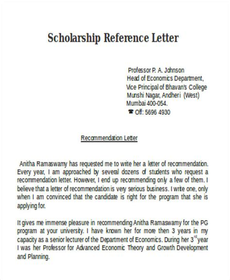 Scholarship Letter Of Recommendation From Professor Scholarship Reference Letter Templates 5 Free Word Pdf Format Free Premium