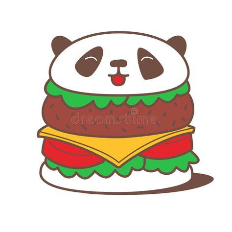 imagenes de hamburguesas kawaii hamburguesa de la panda de kawaii ilustraci 243 n del vector