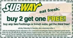 Printable Subway Coupons November 2017 | 2017 subway coupon codes and printable coupons