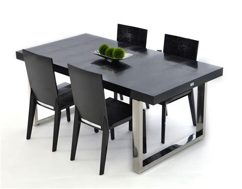 skyline modern black crocodile lacquer dining table
