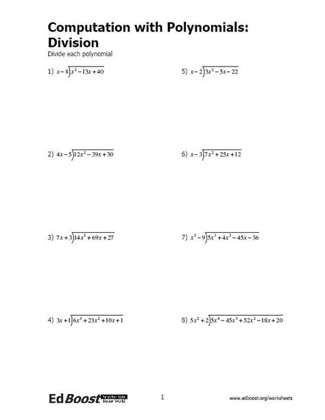 Polynomial Division Worksheet by Computation With Polynomials Division Edboost
