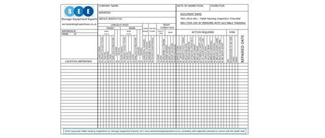 Rack Safety Inspection by Free Racking Inspection Checklist Sema Approved Racking