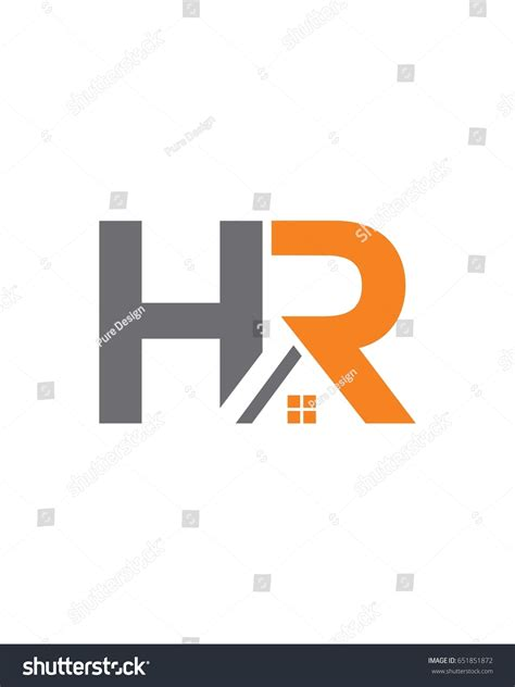 hr home logo initials stock vector 651851872