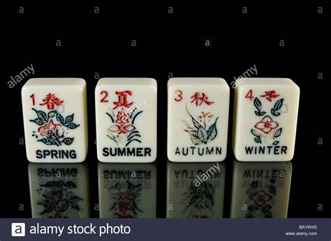 mahjong tiles stock image image of asian ancient hand painted seasons tiles in the ancient chinese game of