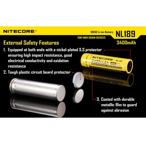 Nitecore 18650 Rechargeable Li Ion Battery 3400mah 3 7v Nl1834 nitecore 18650 rechargeable li ion battery 3400mah 3 7v nl189 black yellow jakartanotebook