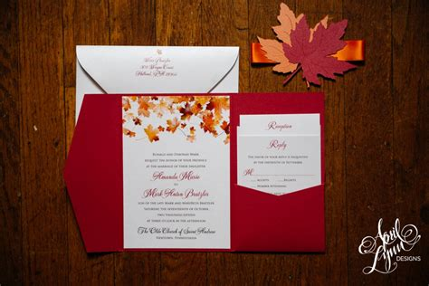 Fall Wedding Invitations by Amanda S Fall Themed Wedding Invitation Suite