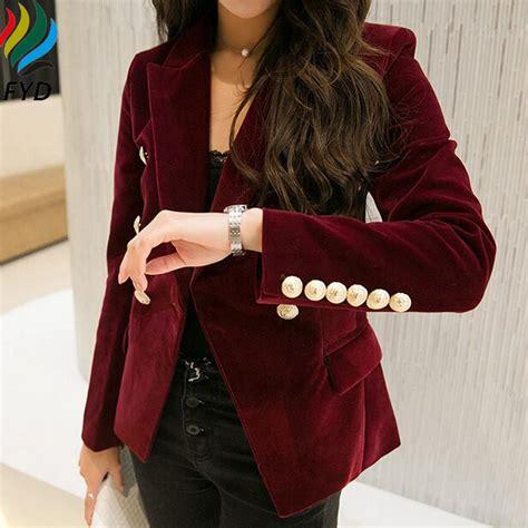Reds Winter Blazer Blazer Korea blaser femenino 2017 autumn winter warm wine black blazers and jackets casual