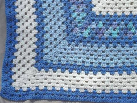 Blue Crystal Chandeliers Vintage Blue Amp White Crochet Afghan Huge Crocheted Granny