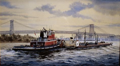 tugboat painting watercolor of the tugboat margaret moran on the newy york