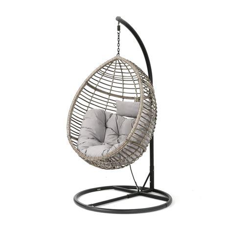 noble house black steel egg shaped patio swing  gray