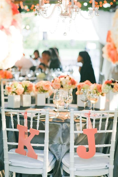 coral and grey wedding palette wedding colors