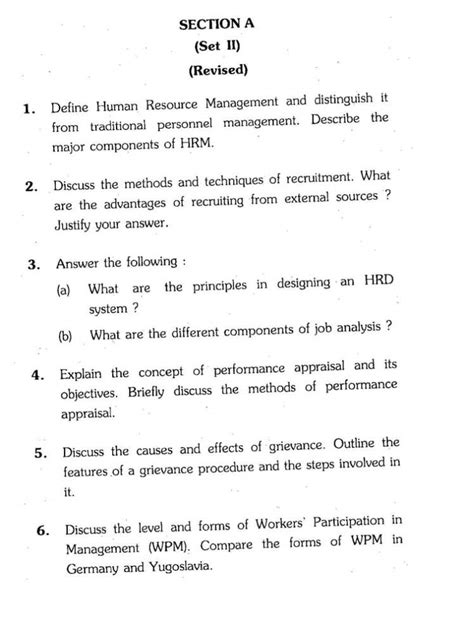 Mba Hr Questions And Answers by Mba Human Resource Management Year Question Papers