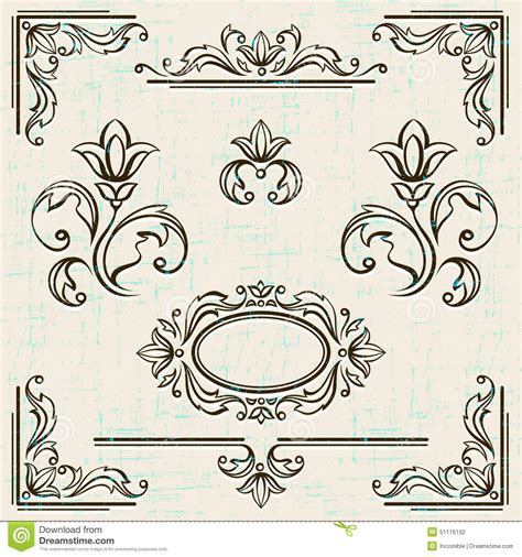 page design elements vector calligraphic design elements and page decoration stock
