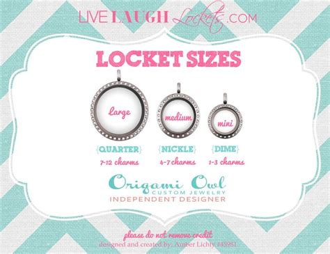 Origami Owl Large Locket Size -