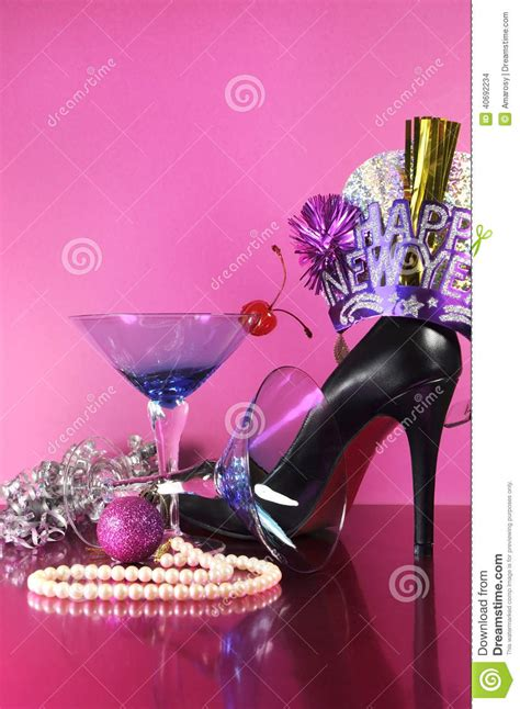 cheerful new year party decorations pink theme happy new year party with vintage blue martini