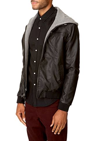 H M Mens Hooded Jacket Zipper Cotton Original 1 forever 21 hooded faux leather jacket in gray for