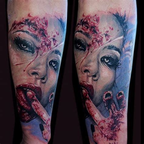 arm women blood tattoo by jak connolly