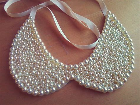 pearl beaded wedding collar necklace onewed