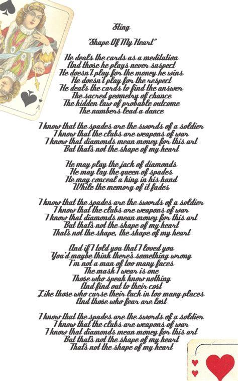 heart pattern lyrics english sting shape of my heart sing sing a song