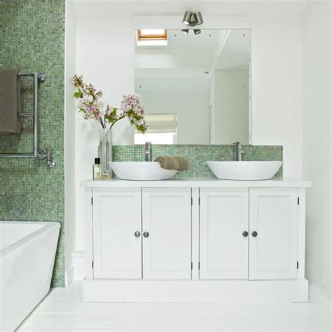 green and white tiles for bathroom white bathroom with twin basins and green mosaic tiles